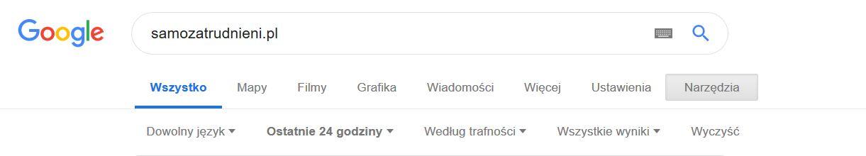 google narzedzia ostatnie 24 godziny 1